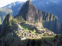 A view of Machu Picchu, a pre-Columbian Inca s...