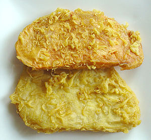 Fritters of yam and sweet potato in Malaysia.