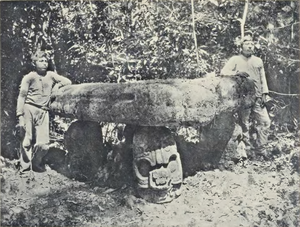 Piedras Negras (Maya site) - Photo of Altar 4 by Teoberto Maler, published in 1901