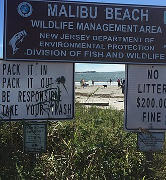 Egg Harbor Township, New Jersey - Sign for the Malibu Beach Wildlife Management Area