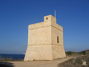 Watchtower - Għallis Tower, one of the 13 de Redin towers in Malta.