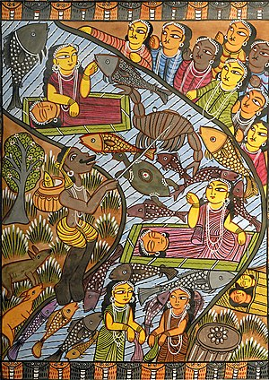 Behala - Behula's (top, left) journey, as depicted in the folk art of West Bengal. The word Behala is commonly believed to have its root in Behula's name.