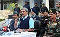 Manohar Parrikar addressing a press conference, at Pathankot airbase, Punjab on January 05, 2016. The Chief of the Air Staff, Air Chief Marshal Arup Raha and the Chief of Army Staff, General Dalbir Singh are also seen.jpg