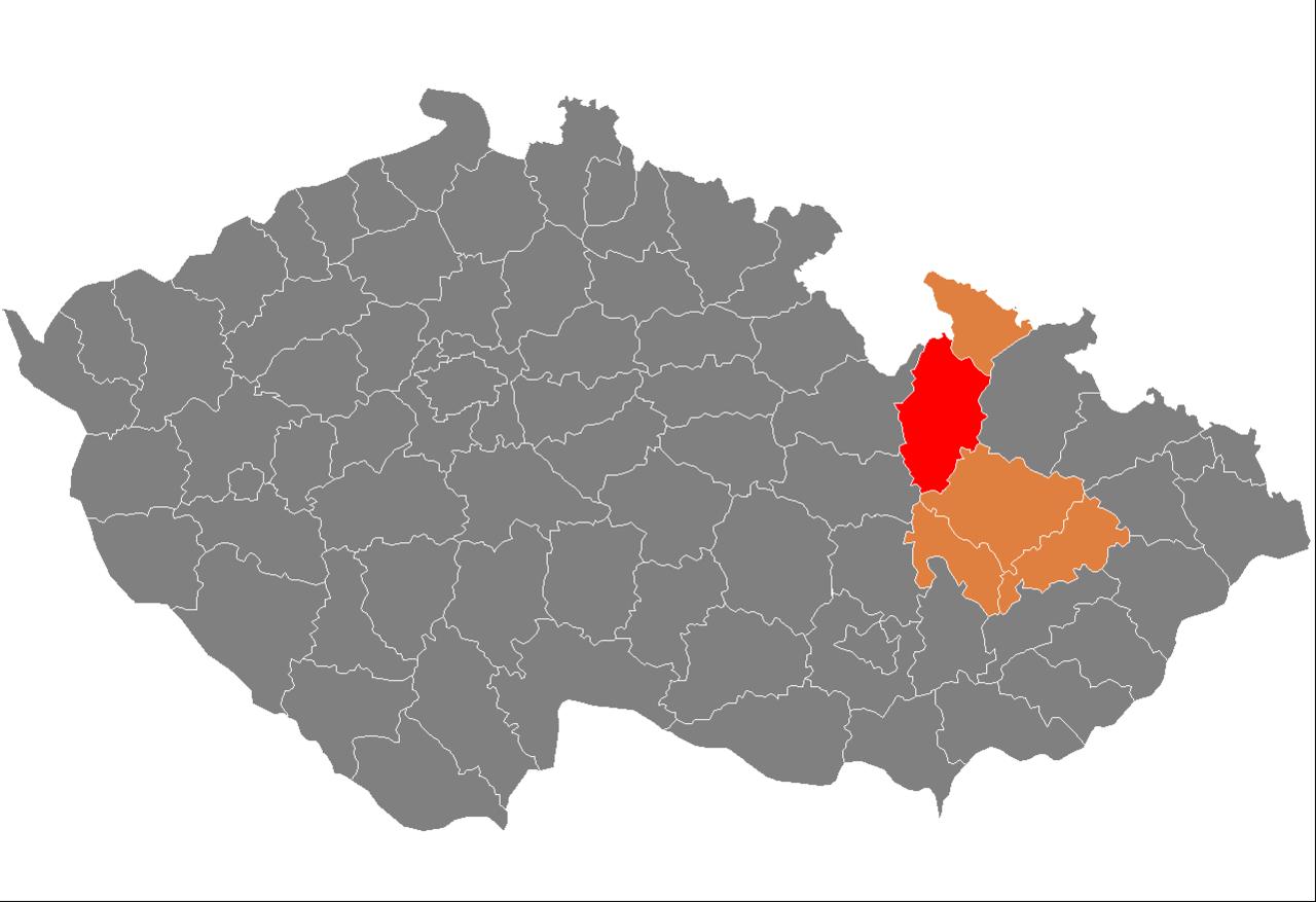 Lage des Okres Šumperk