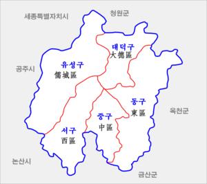 Map Daejeon-gwangyeoksi