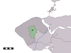 The town centre (dark green) and the statistical district (light green) of Grijpskerke in the municipality of Veere.