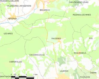 Faugères, Hérault - Map