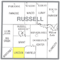 Map highlighting Lincoln Township, Russell County, Kansas.png