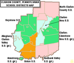 Map of Clarion County Pennsylvania School Districts.png