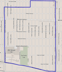 Map of the Fairfax District of Los Angeles, as delineated by the Los Angeles Times