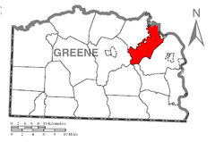 Map of Jefferson Township, Greene County, Pennsylvania Highlighted.png