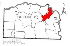 Jefferson Township, Greene County, Pennsylvania - Image: Map of Jefferson Township, Greene County, Pennsylvania Highlighted