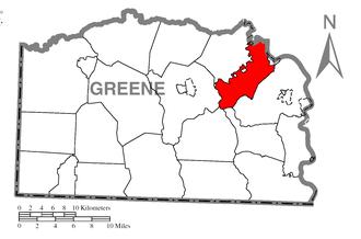 Jefferson Township, Greene County, Pennsylvania - Image: Map of Jefferson Township, Greene County, Pennsylvania Highlighted