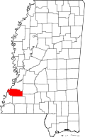 Map of Mississippi highlighting Jefferson County