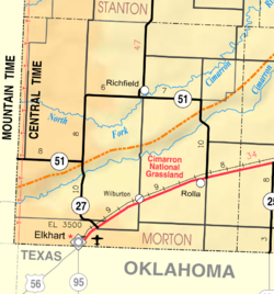 KDOT map of Morton County (legend)