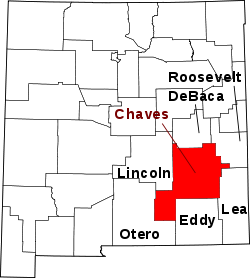 Harta e Chaves County në New Mexico