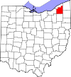 State map highlighting Geauga County