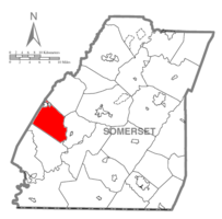 Map of Somerset County, Pennsylvania Highlighting Middlecreek Township