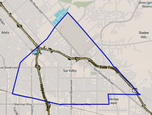 Sun Valley, Los Angeles - Image: Map of Sun Valley, Los Angeles