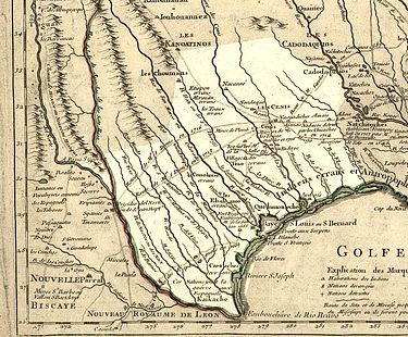 A map of Texas in 1718, by Guillaume de L'Isle Map of Texas 1718.jpg