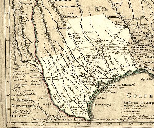 Texas in 1718, Guillaume de L'Isle map, approximate state area highlighted, northern areas indefinite. - Texas