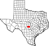 State map highlighting Gillespie County