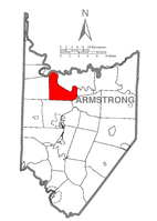 Map of Armstrong County, Pennsylvania highlighting Washington Township
