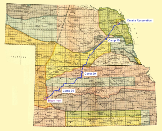 Last Omaha tribal hunt, December 1876 to March 1877. After 34 camp moves, the hunters found bison 400 miles outside the Omaha Reservation. Map showing the route of the Omaha tribe during the last bison hunt, 1876.png