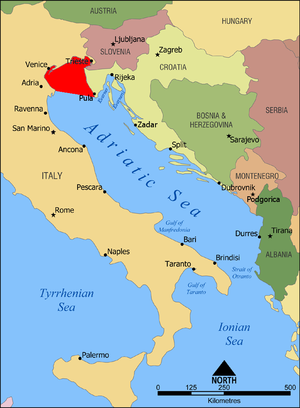 Gulf of Venice - Gulf of Venice highlighted in red within the Adriatic Sea