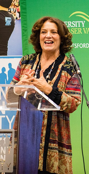 Trudeau speaks at the University of the Fraser Valley in 2017 Margaret Trudeau at UFV 17 (31428779353) (cropped).jpg