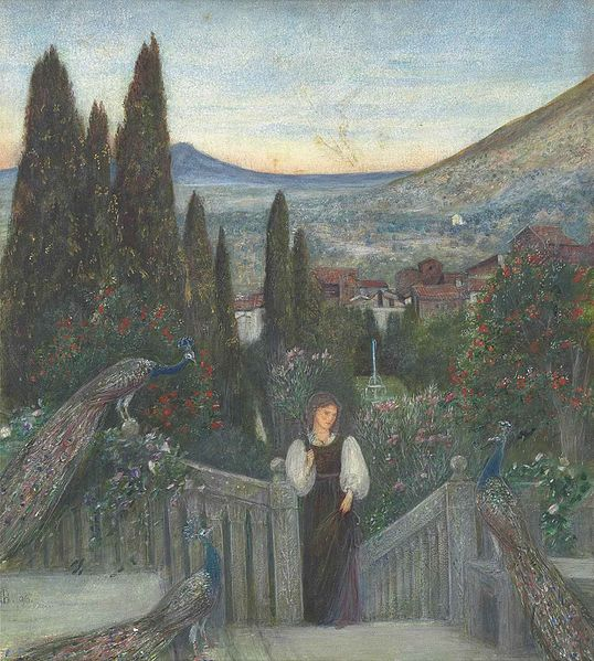 File:Marie Spartali Stillman - A lady with peacocks in a garden, an Italianate landscape beyond.jpg