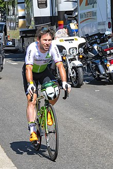 Photograph of Mark Cavendish riding his bike