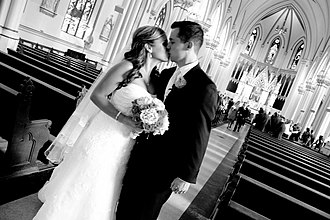 History of St. Mary's Church (Dedham, Massachusetts) - A newly married couple in St. Mary's