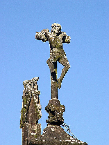 The bad robber. There is a demon at the base of the cross ready to take his soul to hell