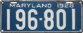 Maryland license plate, 1928.png
