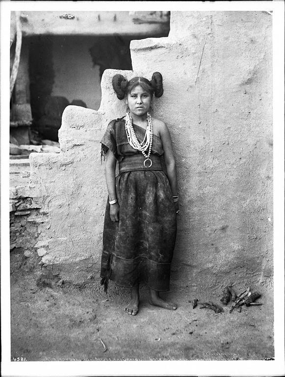 file mashonga  a hopi maiden wearing rich silver ornaments made by navajo indians  oraibi