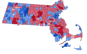 United States presidential election in Massachusetts, 1988 - Results by town. Blue indicates towns carried by Michael Dukakis, red indicates towns carried by George H.W. Bush