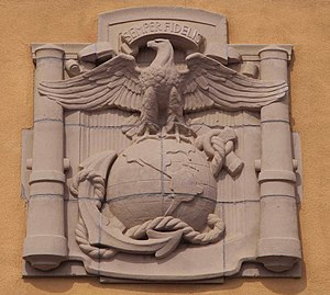 Marine Corps Recruit Depot San Diego - The emblem above the MCRD main gate.