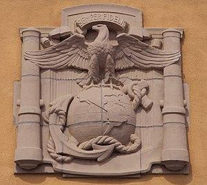 Marine Corps Recruit Depot San Diego - The emblem above the MCRD main gate.