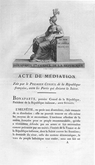 Switzerland in the Napoleonic era - Act of Mediation, 1803