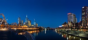 Melbourne's Yarra River at twilight