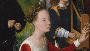 Mystic Marriage of St. Catherine (Memling) - Detail of St Catherine receiving the ring, musical angel, and donor