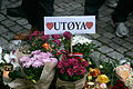 Memorial message for the Utøya victims outside Oslo Cathedral.jpg