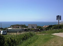 Merlins Bistro and houses at Blackgang.JPG