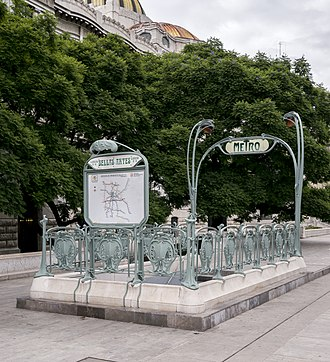 Metro Bellas Artes - The Guimard style entrance added in 1998.