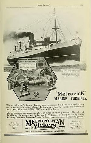 Metropolitan-Vickers - Advertisement for marine turbines in Brassey's Naval and Shipping Annual 1923.