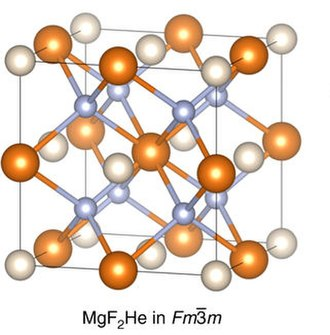 Helium compounds - Crystal structure of the hypothetical compound MgF2He. Helium in white, magnesium in orange and fluorine in blue
