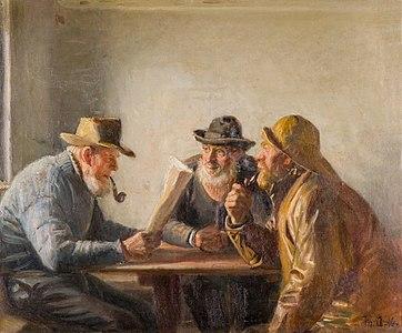 Michael Ancher, Fiskere i krostuen, 1916, RKMm0672, Ribe Kunstmuseum