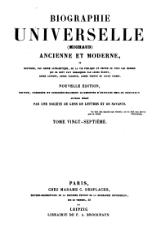Michaud - Biographie universelle ancienne et moderne - 1843 - Tome 27.djvu