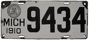 Vehicle registration plates of Michigan - Image: Michigan 1910 license plate